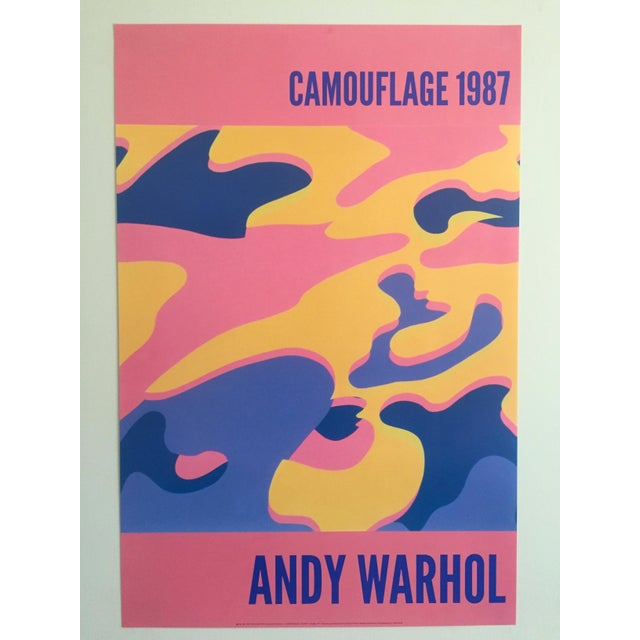 This original lithograph print Pop Art poster of a pink camouflage Abstract graphic is by the world famous Pop Artist Andy...