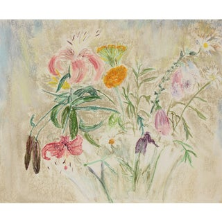 "Anne Granick ""Loose Flowers"" Still Life in Pastel, Circa 1960s Circa 1960s For Sale"
