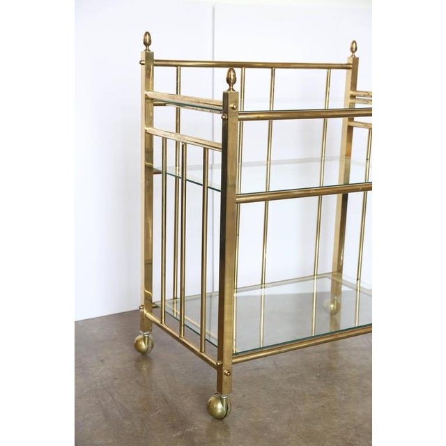 Three-Tier Brass and Glass Bar Cart, Tea Trolley &/or Service Cart - Image 4 of 6