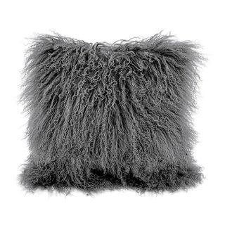 Dark Grey Mongolian Sheepskin Pillow by Tasha Tarno For Sale