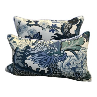 Schumacher Chiang Mai China Blue Pillows - A Pair For Sale
