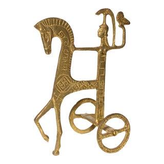 Vintage Brutalist Brass Sculpture of Greek Goddess Athena Riding Chariot For Sale