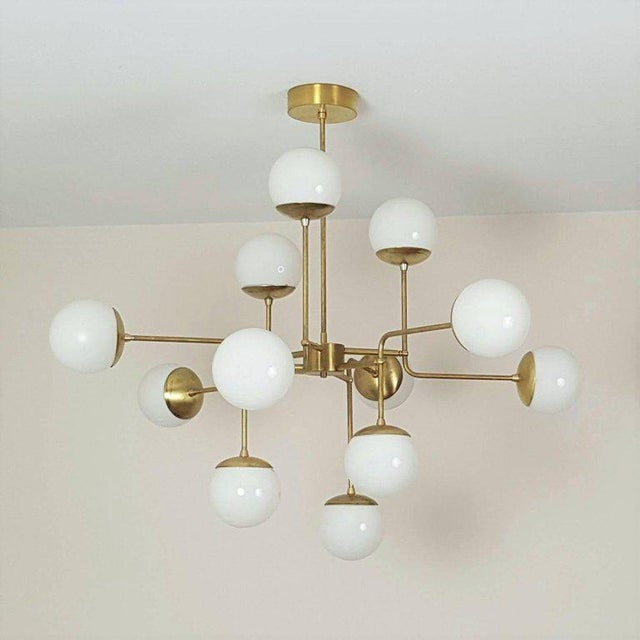 Art Deco Classic Italian Modern Brass Chandelier With Glass Globes Model 420 For