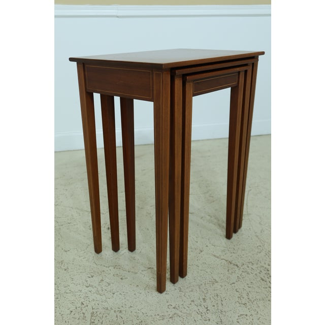 Traditional Biggs 3 Piece Inlaid Mahogany Nesting Stack Tables For Sale - Image 3 of 10