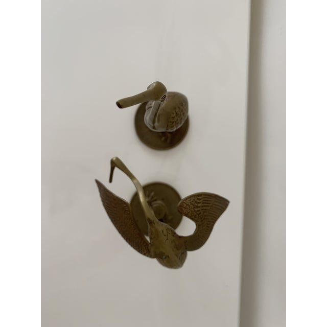 Metal Brass Crane Figurines - a Pair For Sale - Image 7 of 10