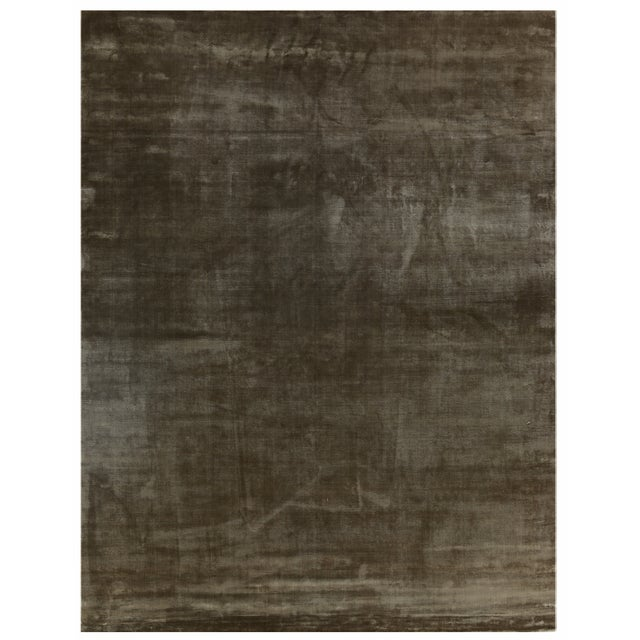 Silk Exquisite Rugs Durham Hand loom Viscose Khaki Rug-8'x10' For Sale - Image 7 of 7