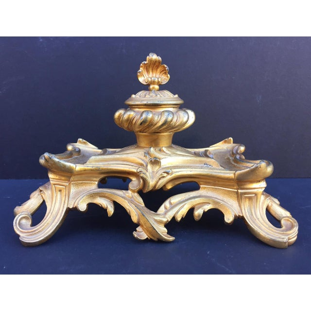 French 19th Century French Inkwell Bronze Louis XV Style Dore Encrier Desk Set For Sale - Image 3 of 10