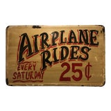 """Image of Vintage Metal Sign """"Airplane Rides"""" For Sale"""