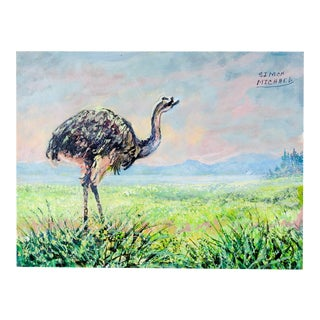 South American Rheas Painting by Simon Michael For Sale