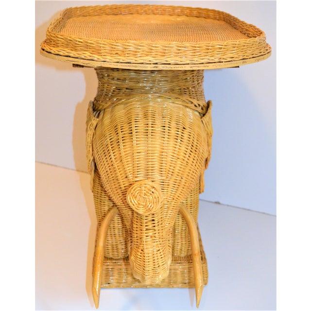 Boho Chic Wicker Rattan Elephant Tray Table (Final Markdown Taken) For Sale - Image 11 of 13