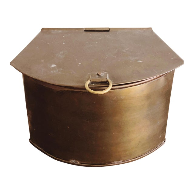 1960s Hanging Brass Planter / Mail Bin For Sale