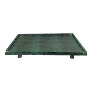 Garrison Rousseau Modern Reptile Leather Tray For Sale