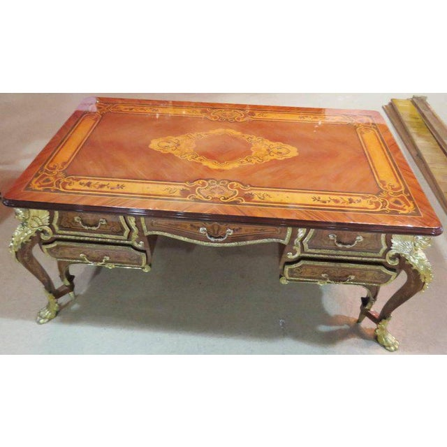 Bronze Three-Piece Italian Style Inlaid Figural Office Set For Sale - Image 7 of 11