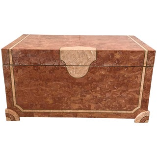 1980s Maitland Smith Tesselated Stone Trunk Coffee Table For Sale