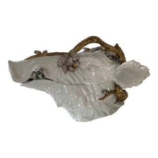 1960's Gold and Silver Accented White Wild Boar Tureen by Magnani For Sale