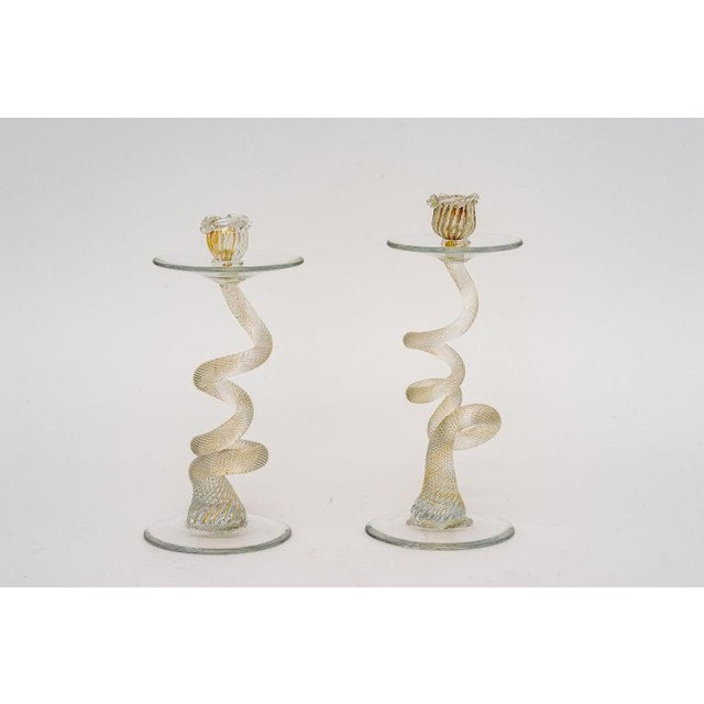 Vintage Yellow Murano Candle Holders - a Pair For Sale In West Palm - Image 6 of 13