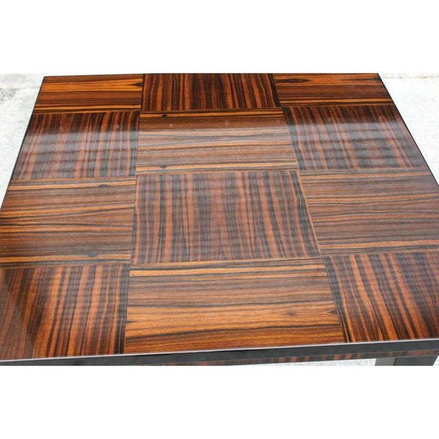 1940s Vintage French Art Deco Macassar Ebony Game Table For Sale - Image 10 of 11
