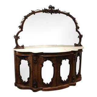 Antique Walnut Sideboard With Mirror For Sale