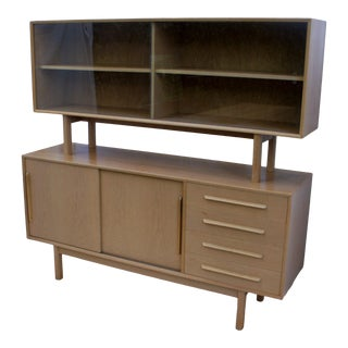 1960s Danish Modern Buffet With Floating Hutch in Cerused Teak For Sale