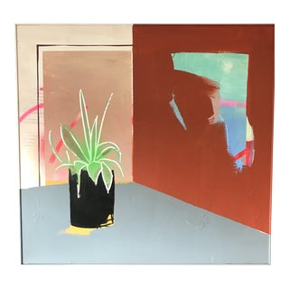 Red Corner and Plant Painting For Sale