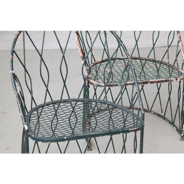 Green Set of Four Salterinini Round Wrought Iron Barrel Back Patio or Garden Chairs For Sale - Image 8 of 9