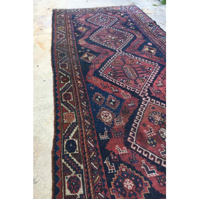 """Tribal 19th Century Antique Afshar Runner - 9'4"""" x 4' For Sale - Image 3 of 6"""