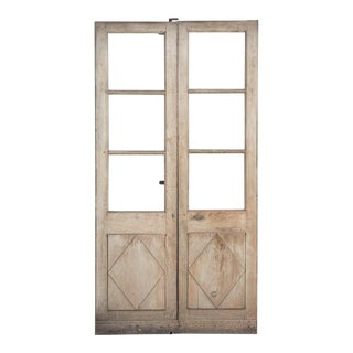 French Directoire Period Painted Oak Doors, Early 1800s - a Pair For Sale