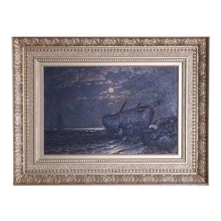 Antique Maritime Moonlit Shipwreck Oil on Canvas Painting by G.W. Waters For Sale