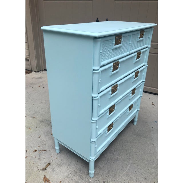 Faux Bamboo Five Drawer Chest of Drawers For Sale In Savannah - Image 6 of 11