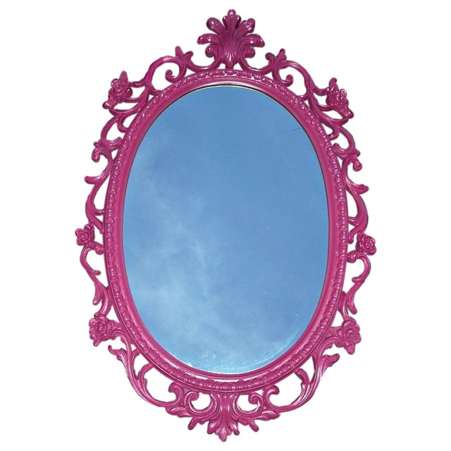 Mid-Century Hollywood Regency Pink French Mirror - Image 1 of 5