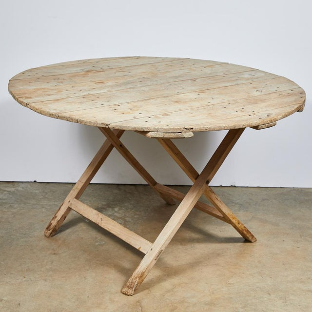 Late 19th Century French Country Folding Champagne Table in Oak For Sale In Los Angeles - Image 6 of 6