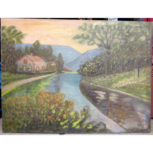 19th Century Antique Outsider Art Rural Landscape Oil on Canvas Painting For Sale - Image 11 of 11