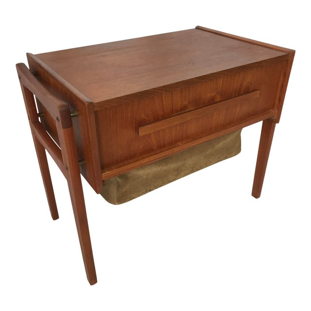 Vintage Danish Sewing Side Table For Sale