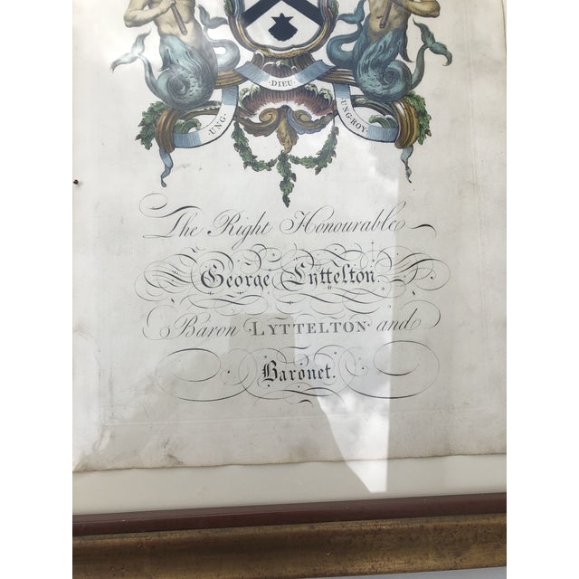 Wood Framed Antique Engravings of Francis Seymour-Conway and George Lytteltons' Coat of Arms - a Pair For Sale - Image 7 of 13