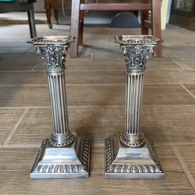Antique Silverplate Corinthian Column Candlesticks- a Pair For Sale - Image 9 of 9