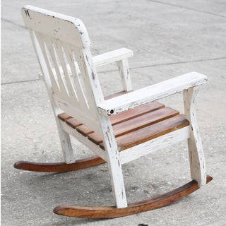 Vintage Child's Whitewashed Wood Rocking Chair Preview