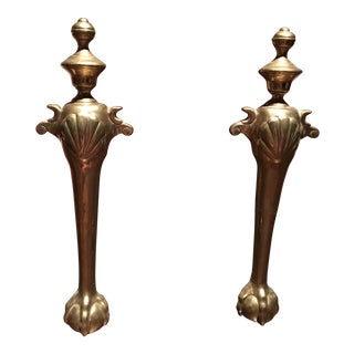 1960s Hollywood Regency Brass Claw Foot Sculptural Andirons - a Pair For Sale
