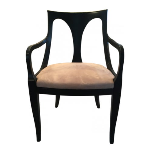 Belvedere Empire armchairs and side chairs. Reupholstered with suede seats. Sold as a set of 6 with 2 arm chairs and 4...