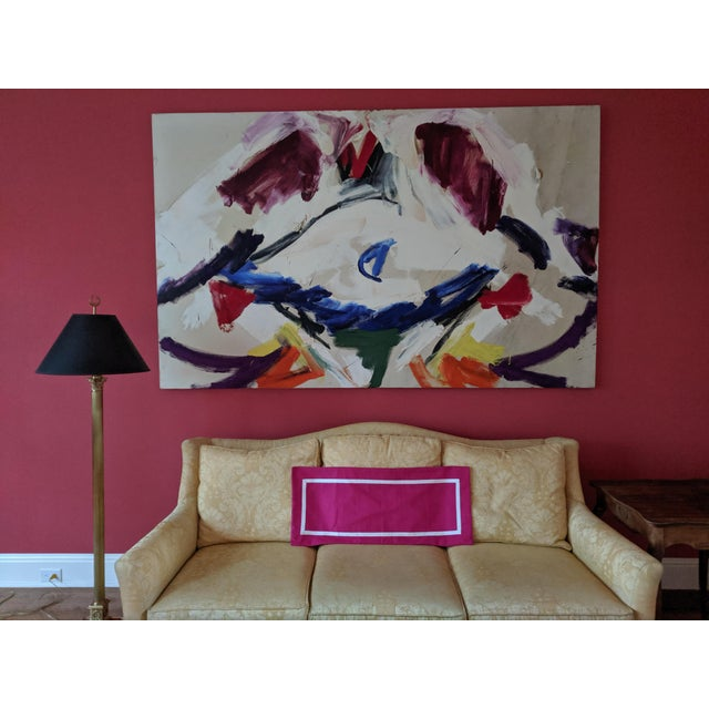 Custom Magenta Pink Linen Pillow Cover For Sale - Image 11 of 12