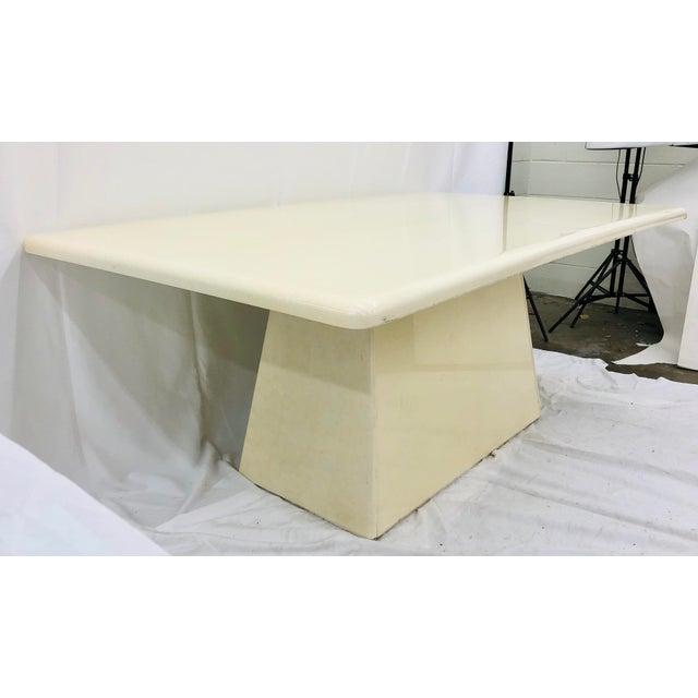 Stunning Vintage Mid Century Modern Contemporary Style Dining Table. Original shiny bone painted finish fittings and...