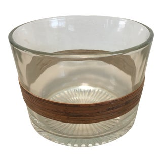 1950s Mid-Century Glass Bowl With Bamboo Trim Detail For Sale