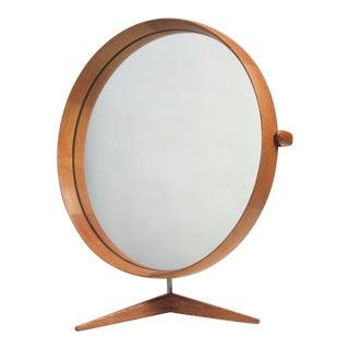 Vintage 1960s Uno & Östen Kristiansson for Luxus Swedish Oak Table Mirror For Sale