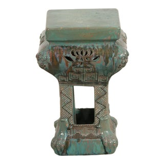 Chinoiserie Pale Green Ceramic Garden Seat For Sale