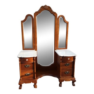 Vanity With Tri-View Mirror and Bench by Lexington For Sale
