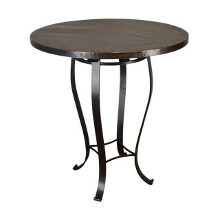 1990s Charleston Forge Round Hammered Top Iron Base High Top Bar Table For Sale