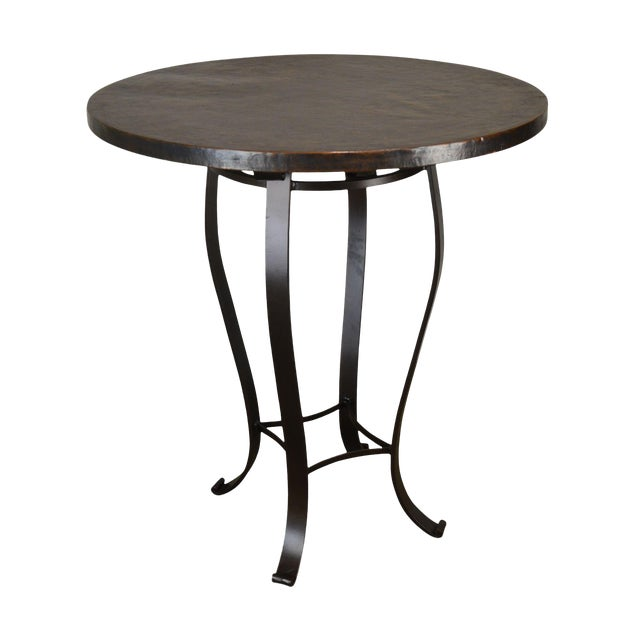 1990s Charleston Forge Round Hammered Top Iron Base High Top Bar