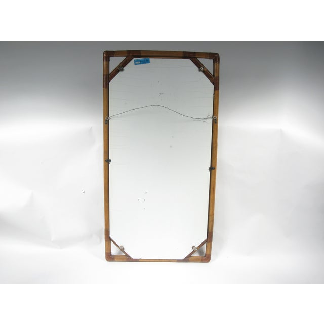 Vintage Drexel Heritage Bamboo & Leather Mirror - Image 5 of 6