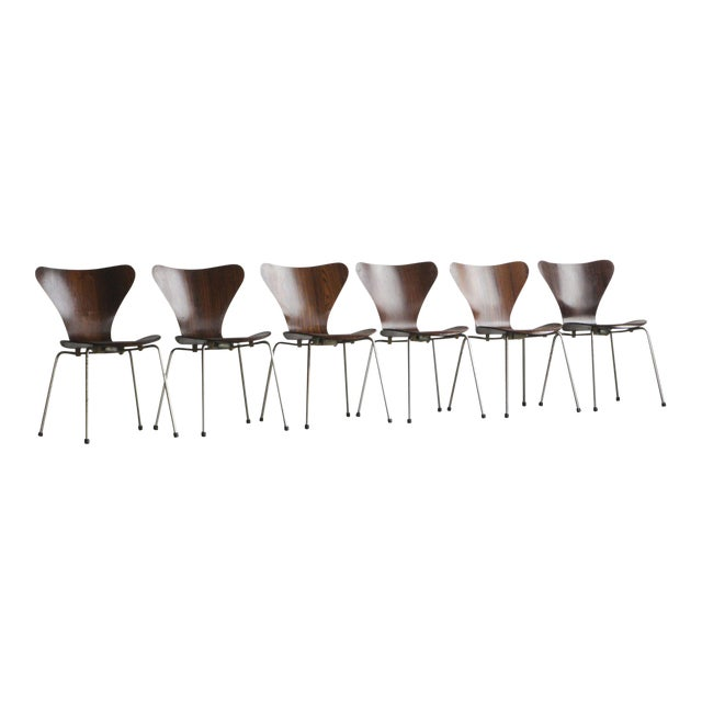 Set of Series 7 Arne Jacobsen Dining Chairs - Image 1 of 8