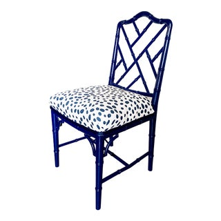 1960s Chinese Chippendale Style Century Furniture Navy Lacquer Faux Bamboo Chair For Sale