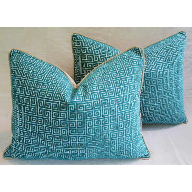 """Abstract Designer Turquoise Greek Key Velvet Feather/Down Pillows 24"""" X 18"""" - Pair For Sale - Image 3 of 8"""